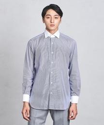 UADT 糖果色條紋白領襯衫