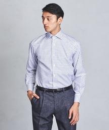 UADT EASY CARE 藏青色格紋寬角領禮服襯衫