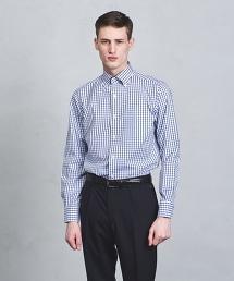 □UADT 易保養 深藍格紋 釦領襯衫