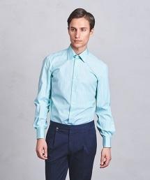 <ERRICO FORMICOLA> AT/ST REG W/CUFF 相間條紋標準領西裝襯衫