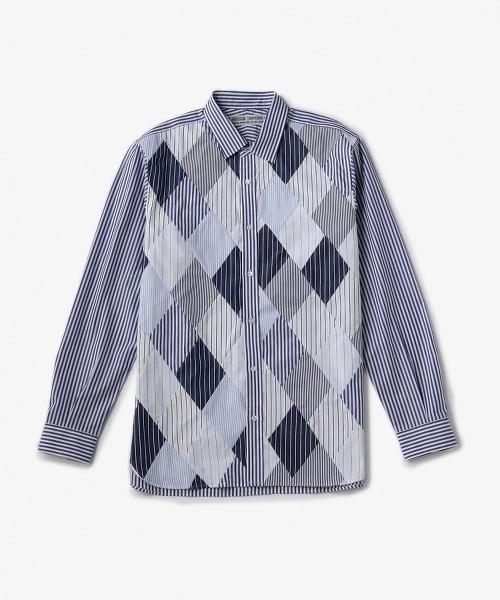 UAST 條紋拼布襯衫