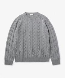 USET 羊毛纜繩圓領針織衫 †
