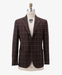 UDET 褐色窗格紋舒適西裝外套 3B