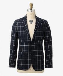 UDET 藏青色窗格紋單品三釦西裝外套