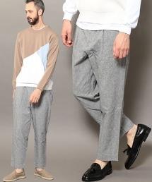 BY 皮帶單摺褲