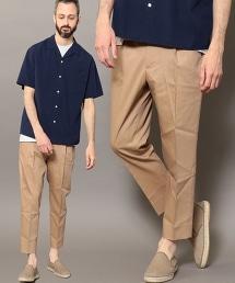 BY 多臂織 單摺寬版九分褲