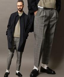 BY TW 格倫格紋 1P 寬版錐形褲