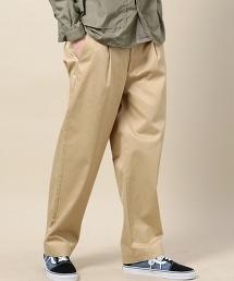 BY 絲光加工單褶寬版CHINO褲 -日本製-