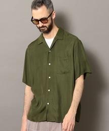 BY 人造纖維斜紋布 開領 襯衫
