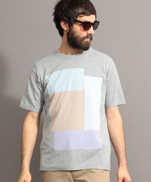 BY 馬賽克圖案短袖針織衫