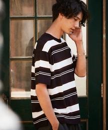 BY 橫條紋針織寬版半袖T恤