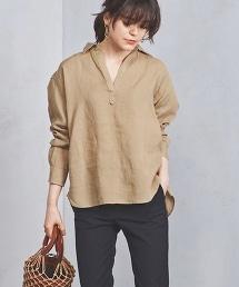 ○UWSC 亞麻V領襯衫