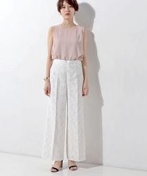 UBCE 植物花紋提花織寬褲