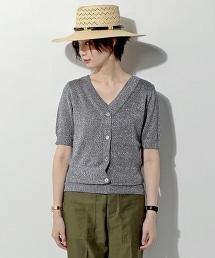 UBCE 金色絲線短袖針織開襟衫 (兩種穿法)