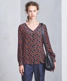 UGCS 絲綢 花朵印花 V領襯衫