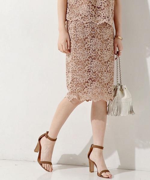 ○UBCE 全蕾絲及膝窄裙