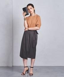 UBCS 絲緞褶皺側蝴蝶結交叉裙