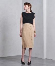 UGCB 亞麻鈕釦窄裙