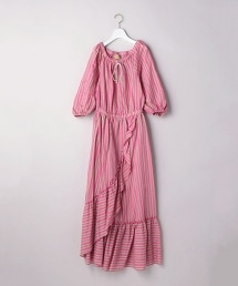 UGSC 多彩條紋荷葉花邊連身裙