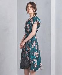 UBCB 植物印花  V領洋裝