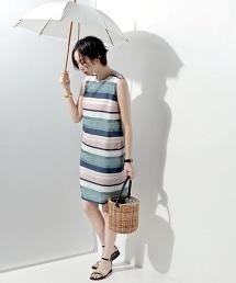 UBCE 多彩橫條紋無袖洋裝
