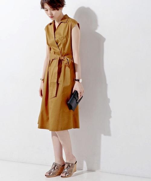 UBCE C 蝴蝶結無袖荷葉裙擺襯衫洋裝