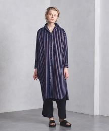 <TICCA>條紋大尺碼襯衫洋裝 NAVY