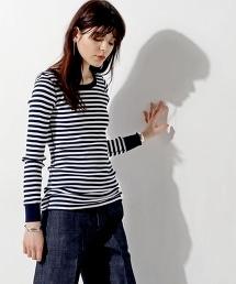 <HYKE> 橫條紋羅紋長袖T恤■■■