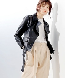 特別訂製<HYKE>Motorcycle Leather Jacket ■■■†皮革機車外套