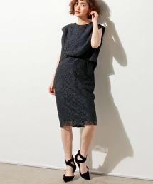 【特別訂製】<FLICKA> 荷葉樣式上衣蕾絲連衣裙