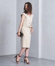 <FLICKA>交叉腰帶法式袖V領洋裝