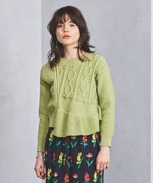 <near.nippon>麻花荷葉衣襬針織上衣