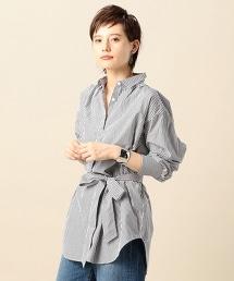 BY 棉質褶皺寬版條紋襯衫