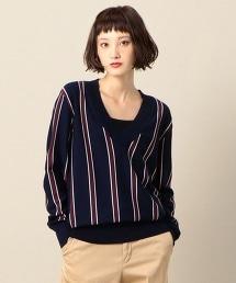 BY 羊毛英式條紋V領針織上衣