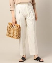 BY 打褶錐形皮帶褲/米白色