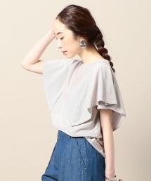 BY 棉質直條紋荷葉袖罩衫