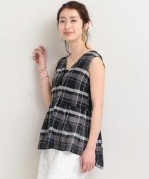 BY∴ 棉質蠶絲混紡 格紋綁帶無袖上衣 -可手洗-