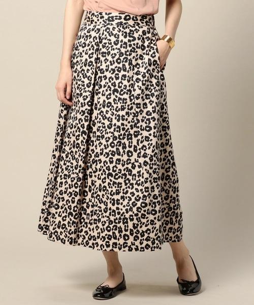 BY 豹紋打褶荷葉長裙