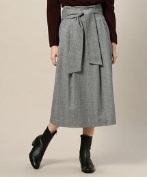 BY∴ 英倫格紋綁帶半裙