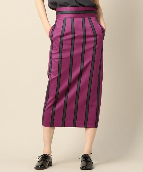 BY TRADITIONAL 英式條紋長版窄裙