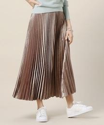 BY 亮緞面長款褶裙