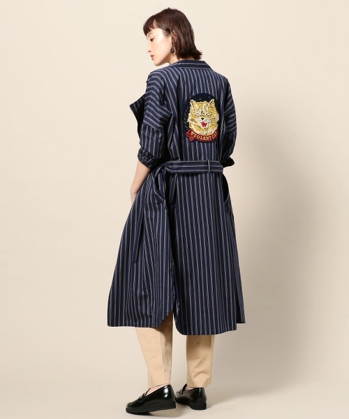 【特別訂製】<Paratiisi>貓咪徽章條紋長袍