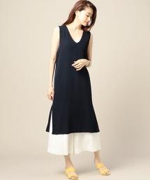 BY V領無袖針織洋裝