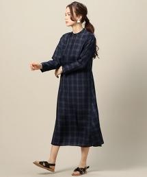 BY 銅氨纖維格紋長款洋裝 藏青色-2WAY-