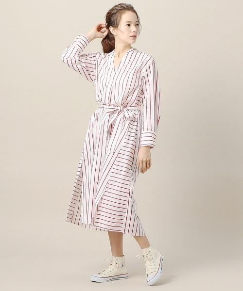 BY 棉質條紋開領腰帶洋裝