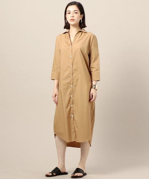 BY 多彩直條紋/素色 寬版襯衫式洋裝