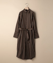 BY 多色直條紋襯衫式洋裝