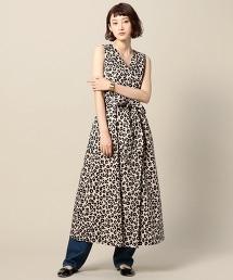 BY 豹紋交叉無袖長款洋裝