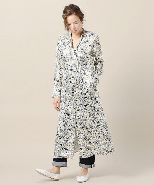 BY LIBERTY印花緞面領結洋裝