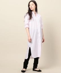 <BY TRADITIONAL>英倫風豎條紋長版襯衫裙